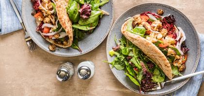 Cauliflower Shawarma with Harissa Beet Slaw & Garlic Aioli