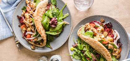Cauliflower Shawarma with Harissa Beet Slaw & Garlic Aioli