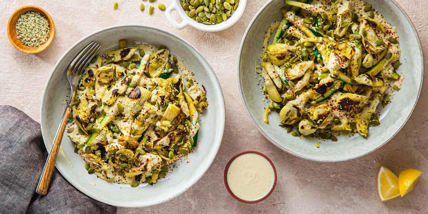 Lemon Zucchini Noodles with Cashew Cream & Crispy Artichoke Hearts