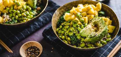 Mango Poke with Brown Rice, Quinoa & Sauteed Greens