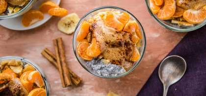 Overnight Peanut Butter Chia Pudding with Clementine & Banana