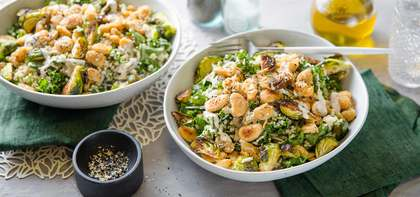 Roasted Brussels Sprouts Caesar Salad with Quinoa & Crispy Butter Beans