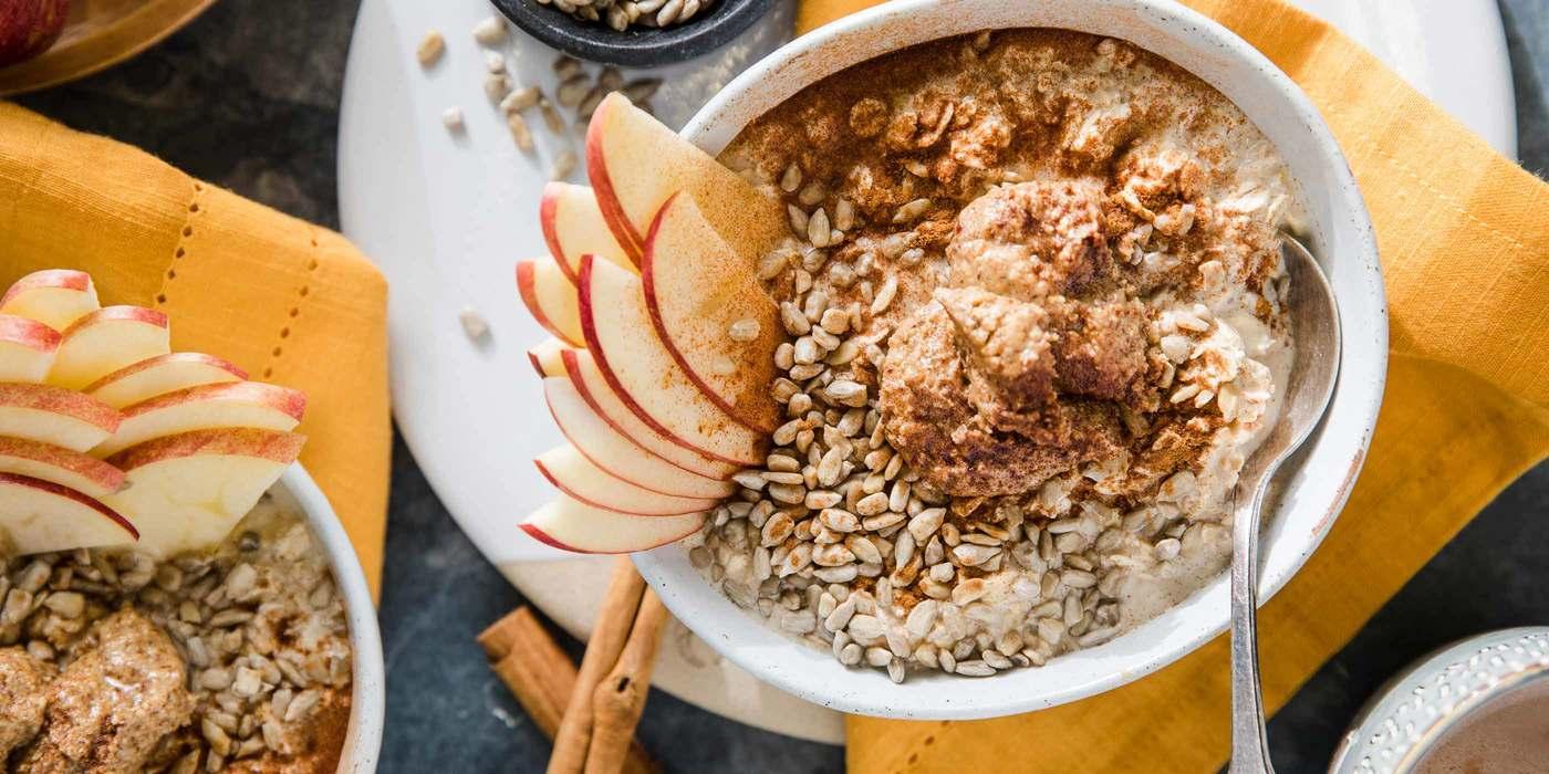 Apple Cinnamon Overnight Oats with Almond Butter & Sunflower Seeds