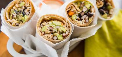 Black Bean Burrito with Avocado & Spicy Mayo