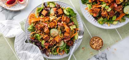 Rainbow Salads with BBQ Tofu & Blood Orange Balsamic Vinaigrette