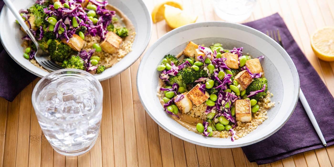 Tahini Bulgur Bowl with Charred Broccoli & Crispy Tofu