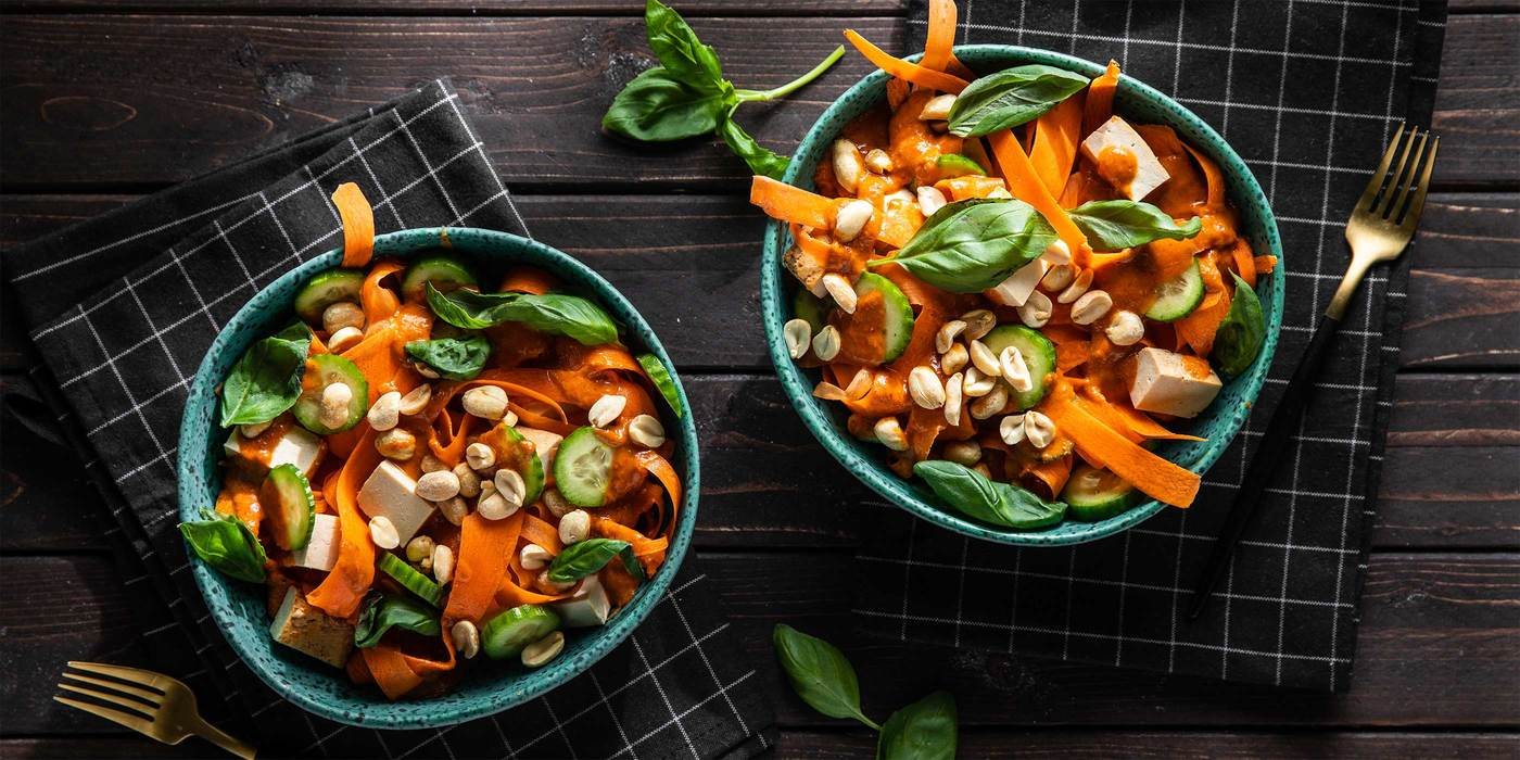 Red Curry Carrot Noodle Bowl with Baked Tofu & Fresh Basil