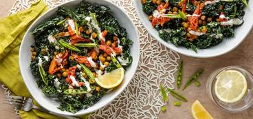 Snap Pea Kale Caesar with Roasted Tomatoes & Herbed Chickpeas