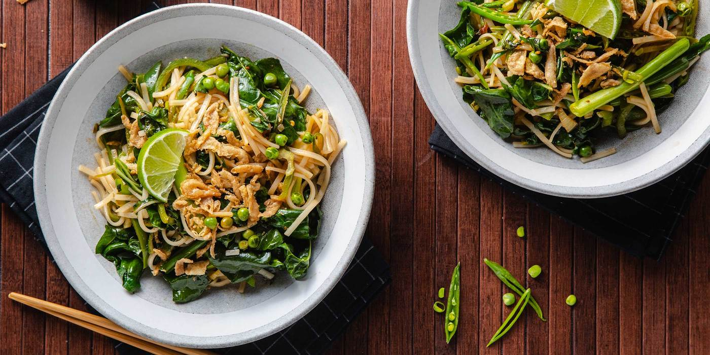 Green Vegetable Pad Thai with Swiss Chard & Snap Peas