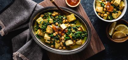 Tofu Saag Paneer with Chickpeas & Mango Chutney