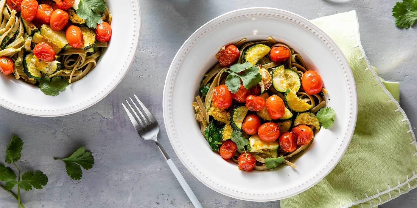 Cilantro Pepita Pesto Fettuccine with Roasted Zucchini & Cherry Tomatoes