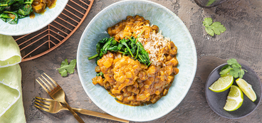 Mango Curry with Chickpea Dumplings & Spinach