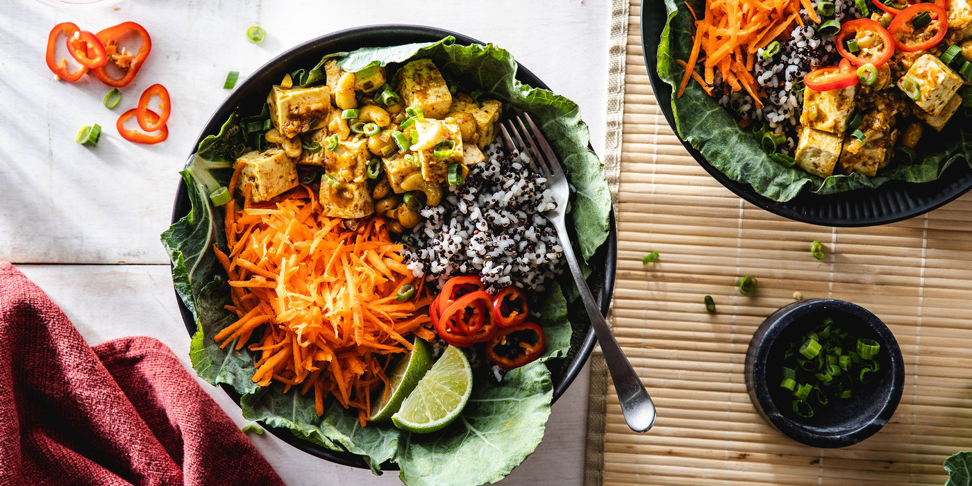 Curried Tofu Collard Wraps with Quinoa Speckled Rice & Chile