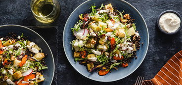Roasted Root Spring Salad with Creamy Horseradish Dressing