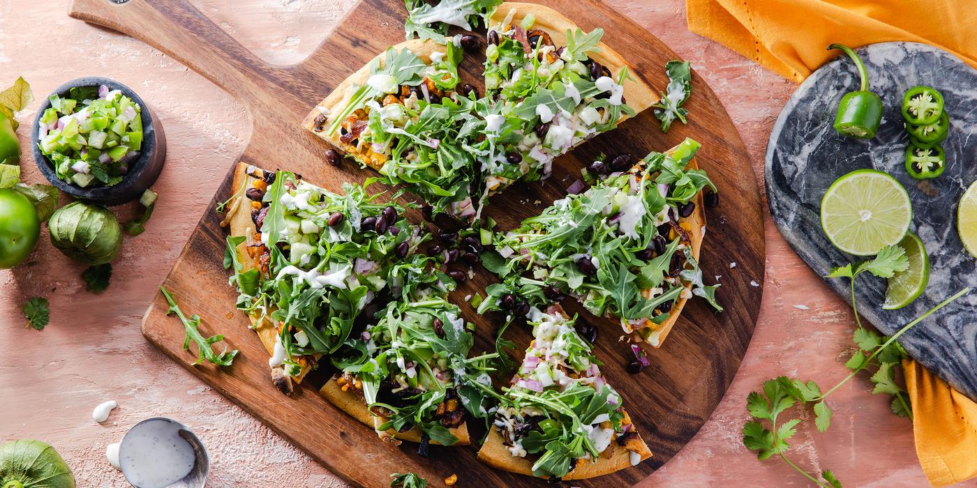 Mexican Socca Pizza with Tomatillo Salsa & Chipotle Corn