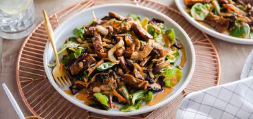 Cumin Stir-Fried Seitan with Arcadian Greens & Peanut Dressing