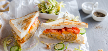 Chickpea Tuna Melt with Quick Pickled Cabbage & Cucumbers