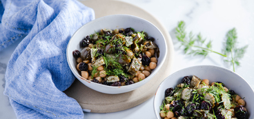 Quinoa Power Bowls with Chickpeas & Stuffed Grape Leaves