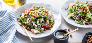 Italian Chopped Salad with Roasted Chickpeas & Creamy Parmesan Dressing