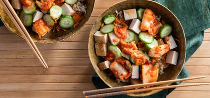 Bibimbap with Kimchi & Sweet Chile Sauce
