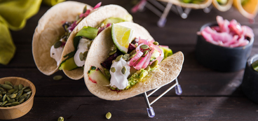 Beet Tacos with Pickled Red Onion & Avocado