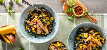 Baja Bowls with Crispy Hearts of Palm & Mango Salsa