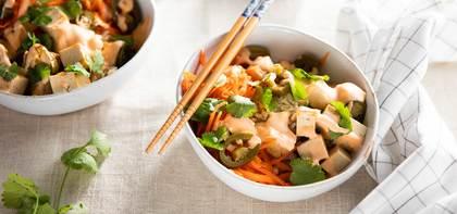 Brown Rice Banh Mi Bowls with Tofu & Pickled Jalapeños
