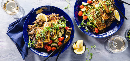 Tofu Halloumi with Dijon Lentils & Charred Summer Vegetables