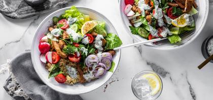 Seitan Shawarma Bowls with Cherry Tomato Salad & Tzatziki Sauce