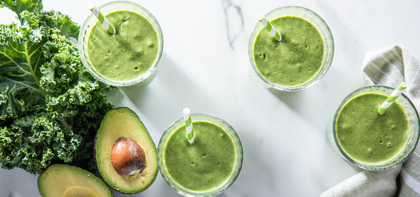Creamy Avocado Smoothies with Kale & Coconut Oil