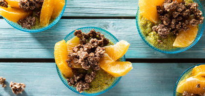 Golden Milk Chia Pudding with Orange & Granola