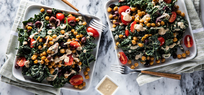 Loaded Kale Caesar with Crispy Chickpeas & Olive Tomato Salad