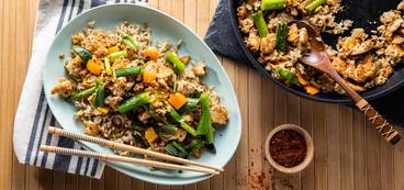 Ginger Fried Rice with Kimchi Tofu & Charred Scallions