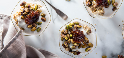 Overnight Greek Muesli with Pistachios & Fig Jam