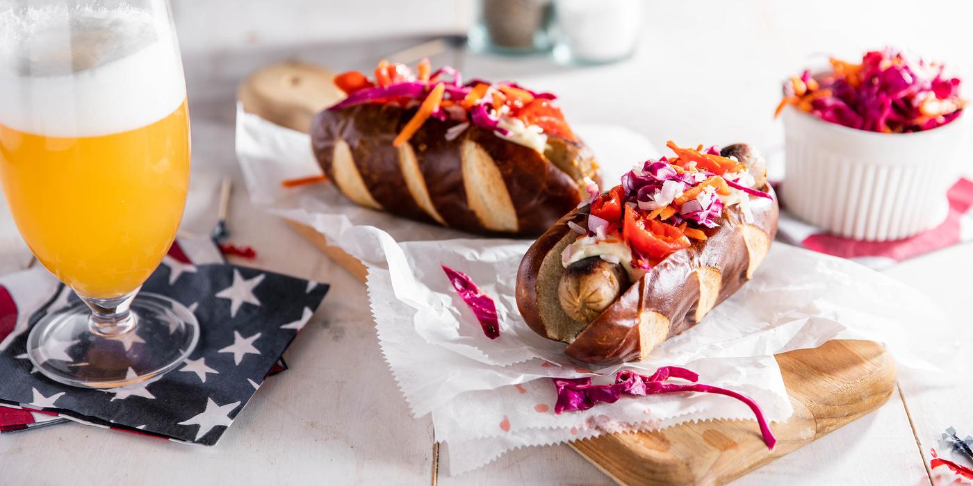 Italian Sausages with Dijonnaise & Carrot Slaw