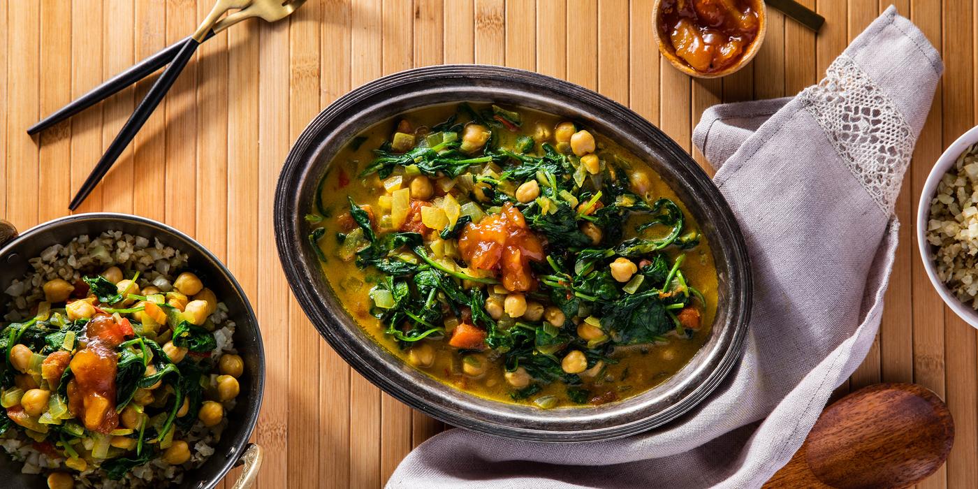 Chickpea Saag with Cumin Cauliflower Rice & Mango Chutney