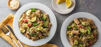 Whole Wheat Rigatoni with Lemon Broccoli Pesto & Zucchini