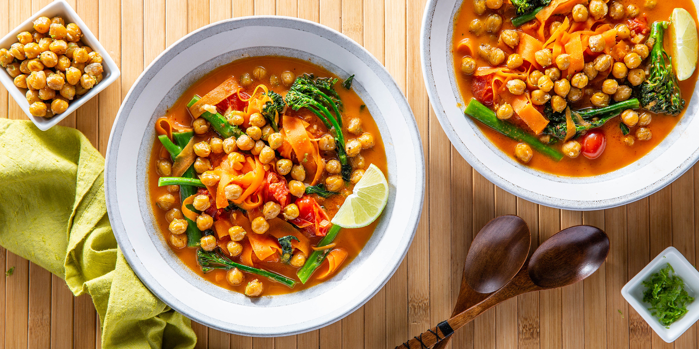 Panang Curry Carrot Noodles with Lime Chickpeas & Broccolini