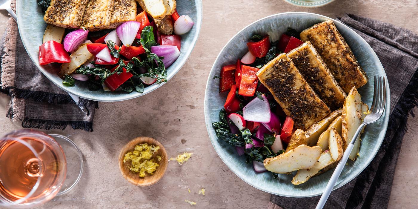 Tofu Halloumi Bowls with Lemon Potatoes & Kale Salad