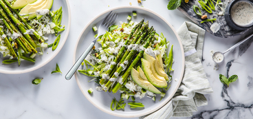 Green Goddess Vegetable Pilaf with Asparagus & Herbed Ranch Dressing