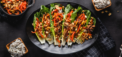 Chinese BBQ Lettuce Wraps with Quinoa Speckled Rice & Crispy Onions
