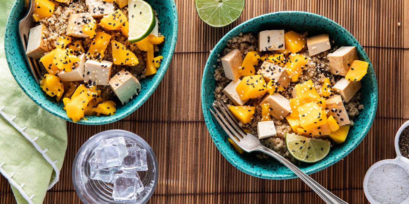 Lime Quinoa Salads with Mango & Baked Tofu