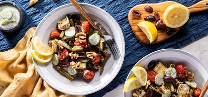 Rustica Grain Bowls with Za'atar Roasted Cherry Tomatoes & Yogurt Cucumbers