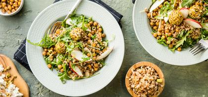 Ancient Grain Bowls with Crispy Chickpeas & Pistachio Cashew Cheese