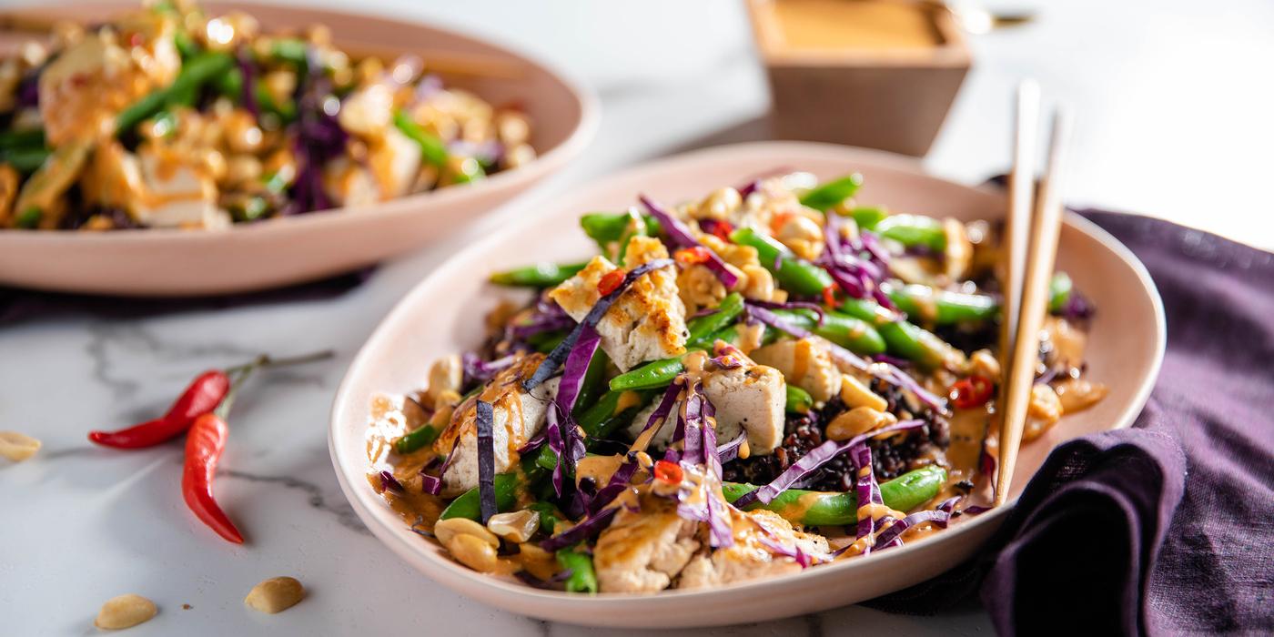 Tofu Peanut Stir-Fry with Charred Green Beans & Midnight Grains