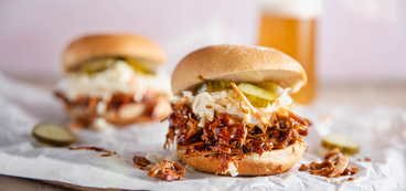 Pulled BBQ Jackfruit Sandwiches with Creamy Coleslaw & Pickles