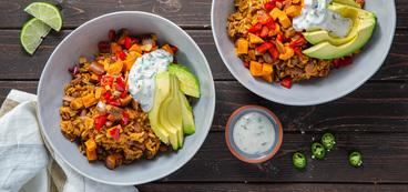 Ranchero Bowls with Cumin Roasted Vegetables & Serrano Yogurt