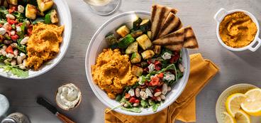 Roasted Carrot Hummus Bowl with Za'atar Vegetables & Arugula