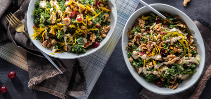 Autumn Crunch Salads with Red Grapes and Cashew Dressing