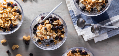 Vanilla Chia Puddings with Dried Blueberries & Cashews